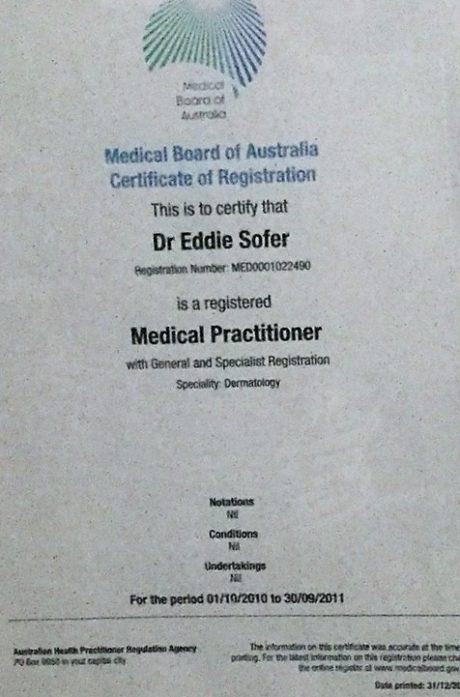 תעודת רופא ומומחה – אוסטרליה 2010