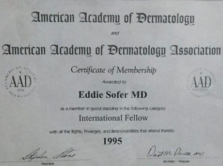 חבר האקדמיה האמריקאית לדרמטולוגיה – 1995