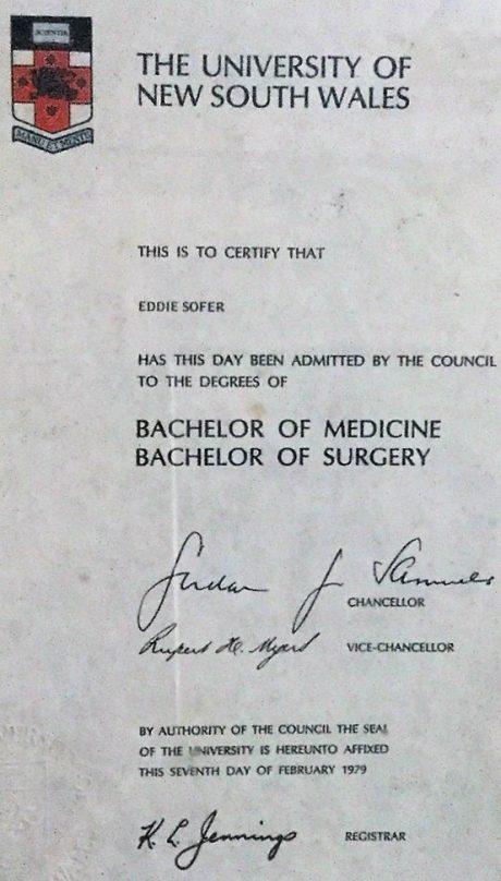 תואר ברפואה – אוסטרליה 1979