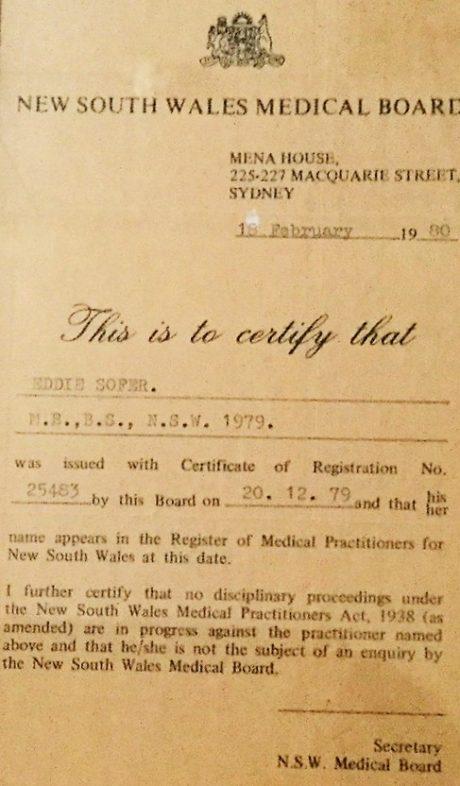 רישום רופא – אוסטרליה 1979