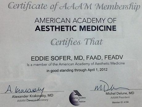 חבר בחברה האמריקאית לרפואה אסתטית 2012