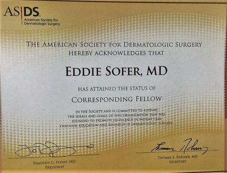 חבר בחברה האמריקאית לכירורגיה דרמטולוגית