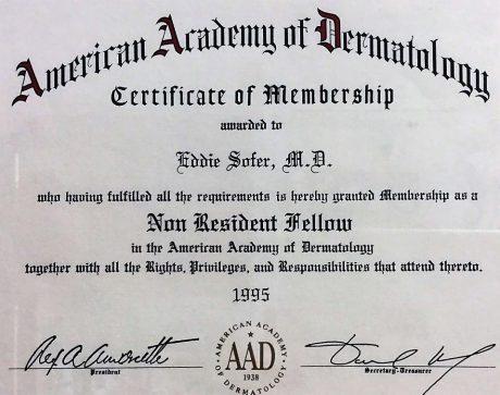 חבר באקדמיה האמריקאית לדרמטולוגיה 1995