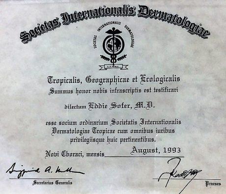 חבר בחברה הדרמטולוגית הבינלאומית 1993